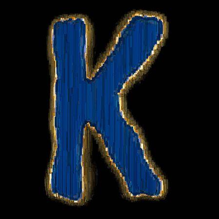 Industrial metal blue color alphabet letter K. Isolated black background. 3d rendering