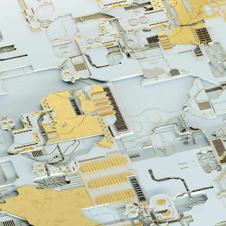 Circuit board futuristic server code processing. Gold and white technology background. 3d rendering abctract circuit board.