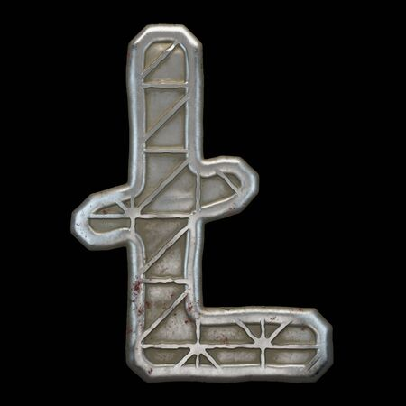 Industrial metal symbol litecoin on black background 3d rendering 免版税图像