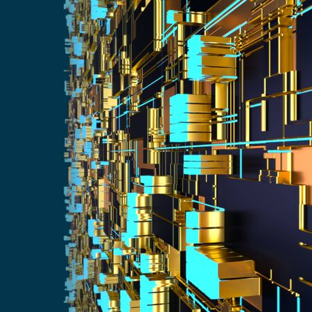 Circuit board futuristic server code processing. Angled view multicolor technology black background. 3d rendering abstract circuit board