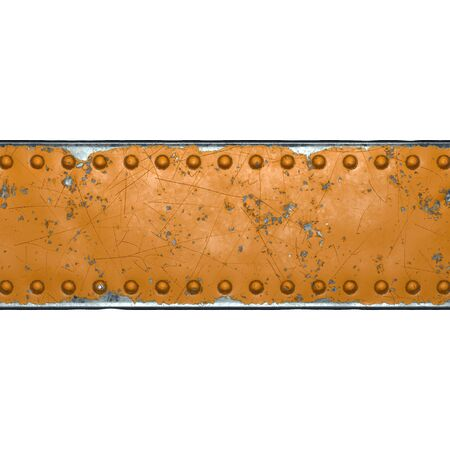 Rusty metal strip with rivets on the center against on white background 3d rendering 스톡 콘텐츠