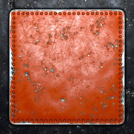 Painted red metal with rivets in the shape of a square in the center on black metal background. 3d rendering