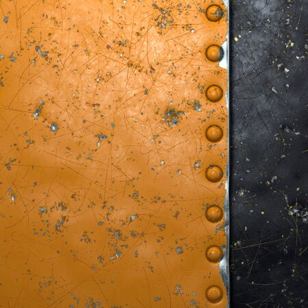 Rusty metal strip with rivets on the left against on black metal background 3d rendering 스톡 콘텐츠