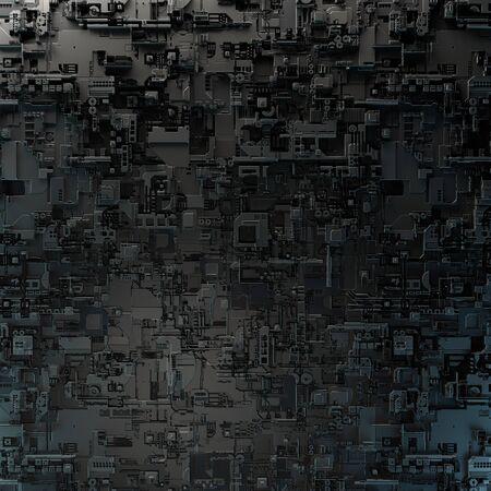 SciFi Panels. Futuristic texture. Spaceship hull geometric pattern. 3d illustration. Technology concept. Foto de archivo