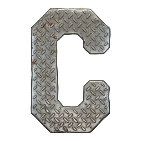 Industrial metal alphabet letter C on white Banco de Imagens