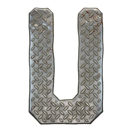 Industrial metal alphabet letter U on white