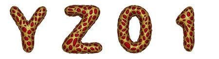 Letter set Y, Z, 0, 1 made of realistic 3d render golden shining metallic. Stock fotó
