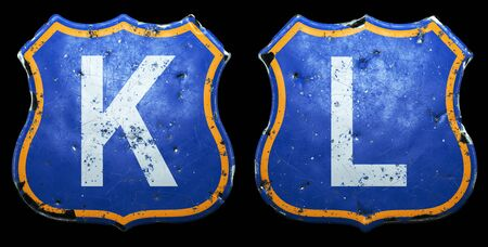 Set of Public road signs in blue and orange color with a capitol white letters K, L in the center isolated black background. 3d rendering Reklamní fotografie