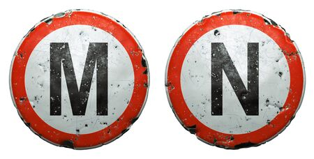 Set of public road signs in red and white with a capitol letters M, N in the center isolated on white background. 3d rendering