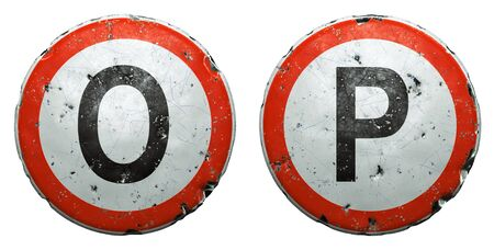 Set of public road signs in red and white with a capitol letters O, P in the center isolated on white background. 3d rendering