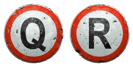Set of public road signs in red and white with a capitol letters Q, R in the center isolated on white background. 3d rendering