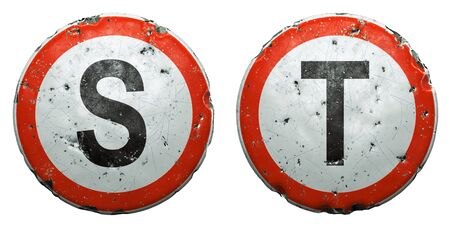 Set of public road signs in red and white with a capitol letters S, T in the center isolated on white background. 3d rendering