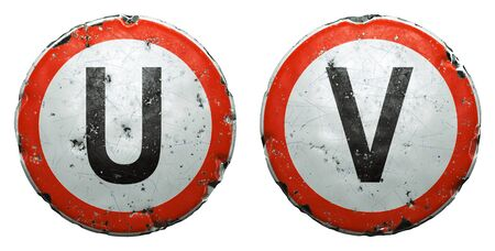 Set of public road signs in red and white with a capitol letters U, V in the center isolated on white background. 3d rendering Zdjęcie Seryjne