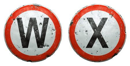 Set of public road signs in red and white with a capitol letters W, X in the center isolated on white background. 3d rendering