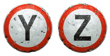 Set of public road signs in red and white with a capitol letters Y, Z in the center isolated on white background. 3d rendering
