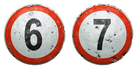 Set of public road signs in red and white with a numbers 6, 7 in the center isolated on white background. 3d rendering Zdjęcie Seryjne