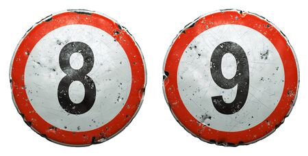 Set of public road signs in red and white with a numbers 8, 9 in the center isolated on white background. 3d rendering