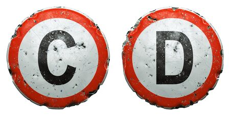 Set of public road signs in red and white with a capitol letters C, D in the center isolated on white background. 3d rendering