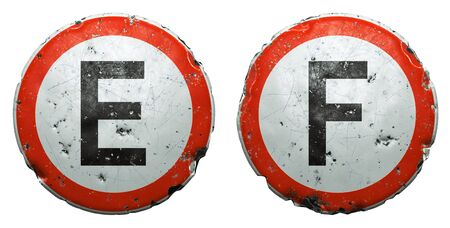 Set of public road signs in red and white with a capitol letters E, F in the center isolated on white background. 3d rendering Zdjęcie Seryjne
