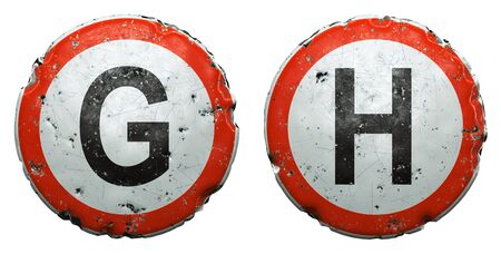 Set of public road signs in red and white with a capitol letters G, H in the center isolated on white background. 3d rendering Zdjęcie Seryjne
