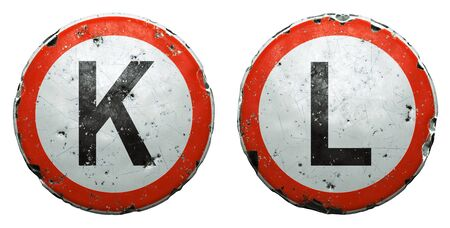 Set of public road signs in red and white with a capitol letters K, L in the center isolated on white background. 3d rendering Zdjęcie Seryjne