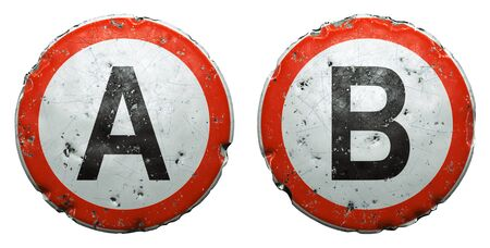 Set of public road signs in red and white with a capitol letters A, B in the center isolated on white background. 3d rendering