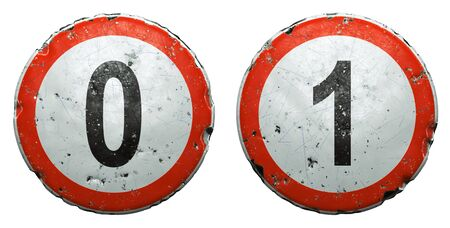 Set of public road signs in red and white with a numbers 0, 1 in the center isolated on white background. 3d rendering