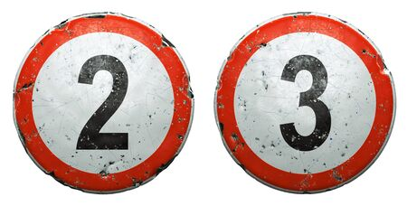 Set of public road signs in red and white with a numbers 2, 3 in the center isolated on white background. 3d rendering