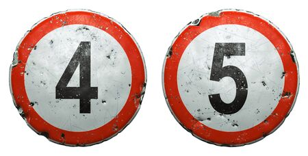 Set of public road signs in red and white with a numbers 4, 5 in the center isolated on white background. 3d rendering
