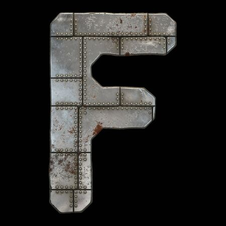 Industrial metal alphabet letter F on black background. 3d rendering