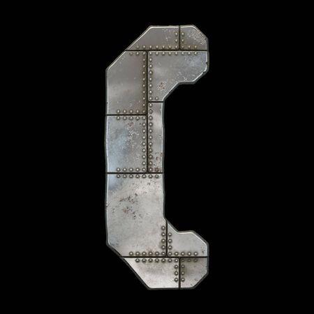 Industrial metal symbol left parentheses on black background 3d rendering