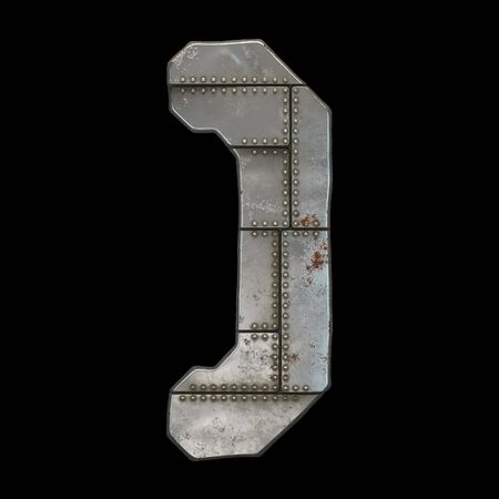 Industrial metal symbol right parentheses on black background 3d rendering
