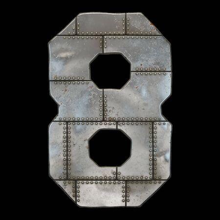 Industrial metal number 8 on black background 3d rendering Banco de Imagens