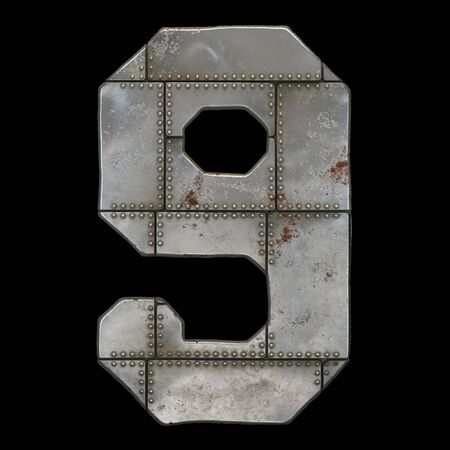 Industrial metal number 9 on black background 3d rendering