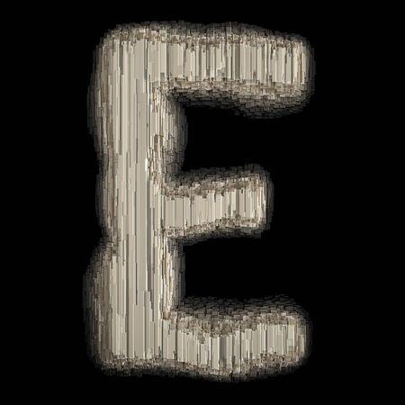 Industrial metal alphabet letter E 3d rendering Banco de Imagens