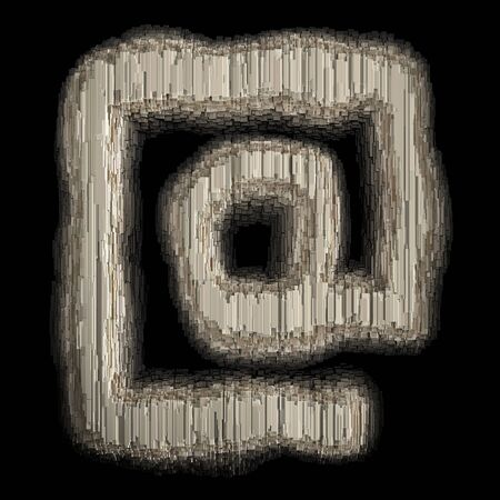 Symbol at made of industrial metal. Isolated on black background. 3d rendering Banco de Imagens