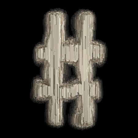 Symbol hash made of industrial metal. Isolated on black background. 3d rendering