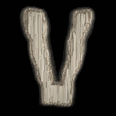 Industrial metal alphabet letter V 3d rendering