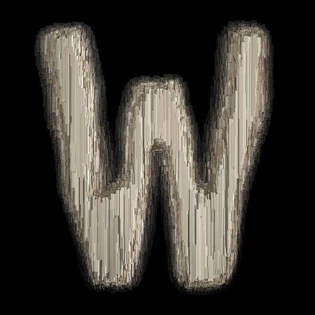 Industrial metal alphabet letter W 3d rendering