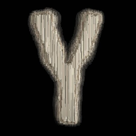 Industrial metal alphabet letter Y 3d rendering