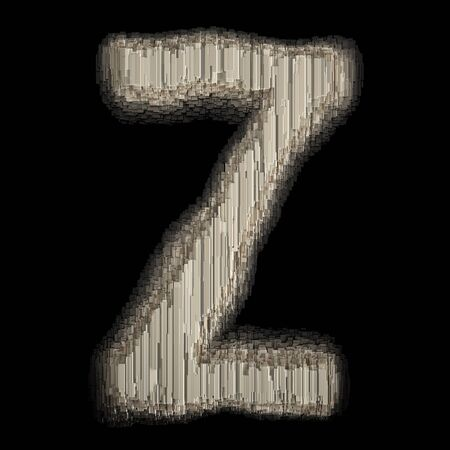 Industrial metal alphabet letter Z 3d rendering