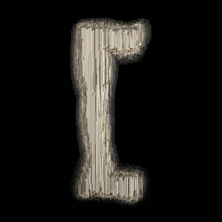 Symbol left square bracket made of industrial metal. Isolated on black background. 3d rendering