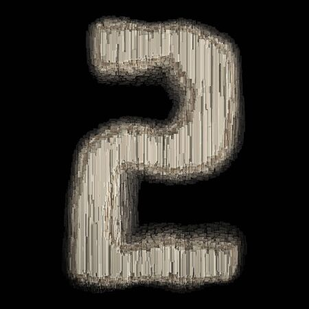 Number 2 made of industrial metal. Isolated on black background. 3d rendering