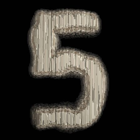 Number 5 made of industrial metal. Isolated on black background. 3d rendering