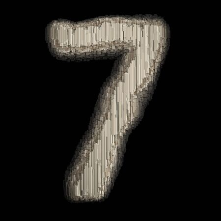 Number 7 made of industrial metal. Isolated on black background. 3d rendering Banco de Imagens