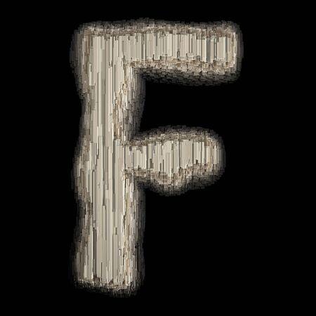 Industrial metal alphabet letter F 3d rendering Banco de Imagens