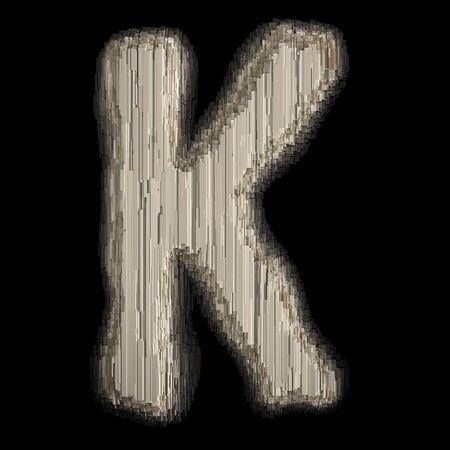 Industrial metal alphabet letter K 3d rendering