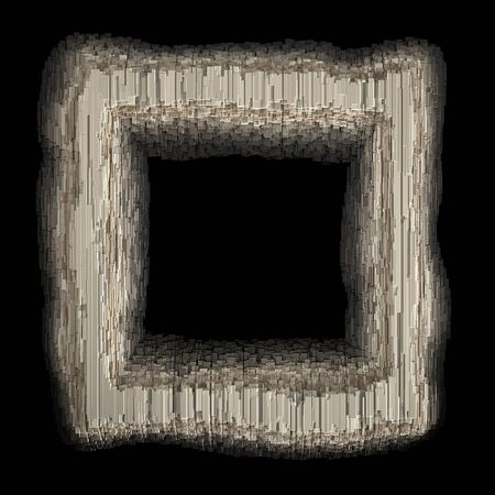 Square in the form industrial metal. Isolated on black background. 3d rendering