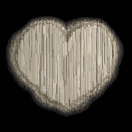 Symbol heart made of industrial metal. Isolated on black background. 3d rendering Banco de Imagens