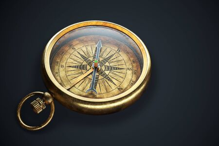 Vintage compass isolated on black background. Close up view 3d rendering Banco de Imagens - 141031994